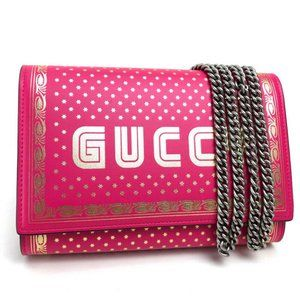 GUCCI Chain Wallet Wallet Bag GUCCY Pink Leather